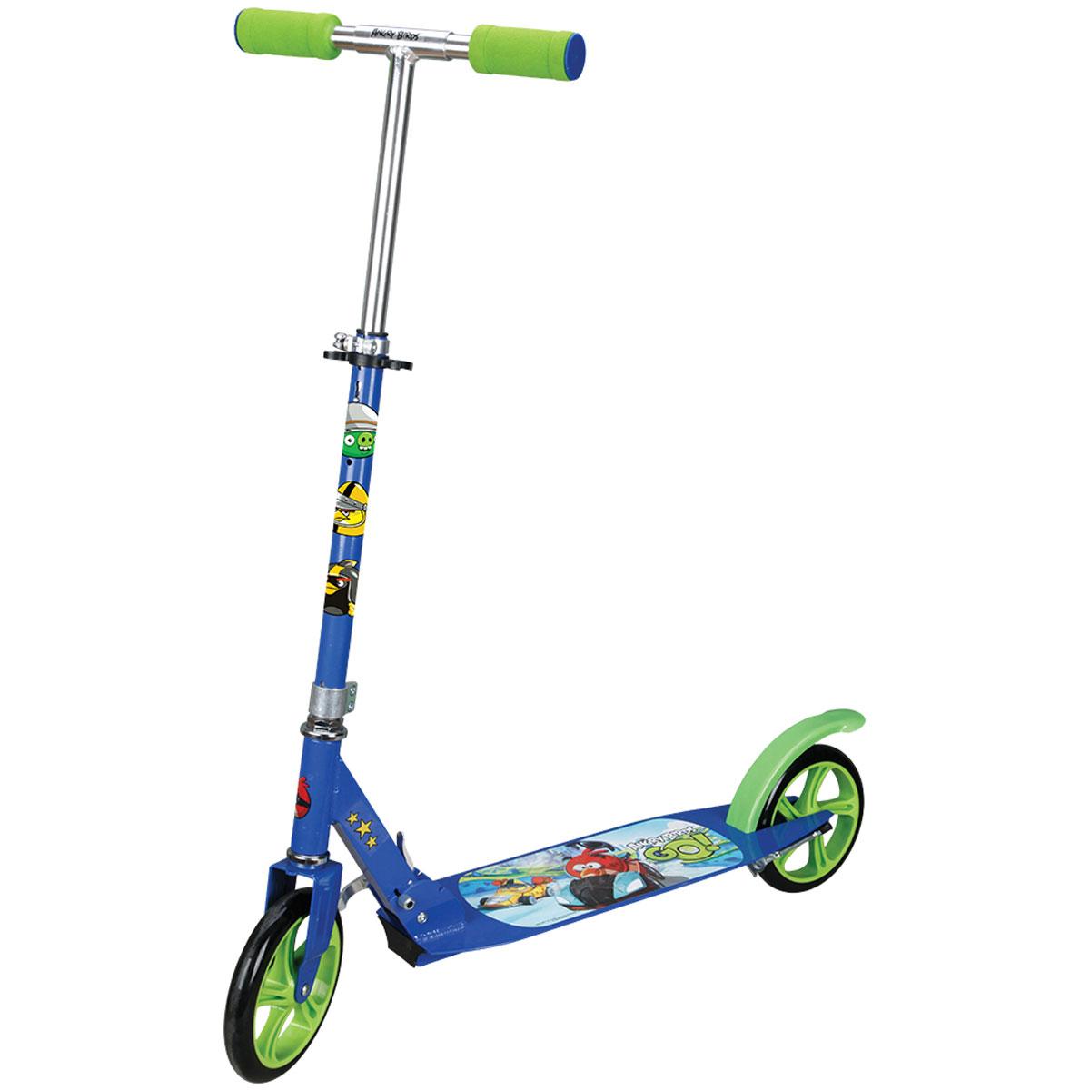 Navigator Самокат детский двухколесный Angry Birds Go цвет синий зеленыйТ57646Самокат Navigator - это специализированная модель для детей. Колеса диаметром 200 мм отвечают за маневренность и подвижность самоката. Имеется тормоз.