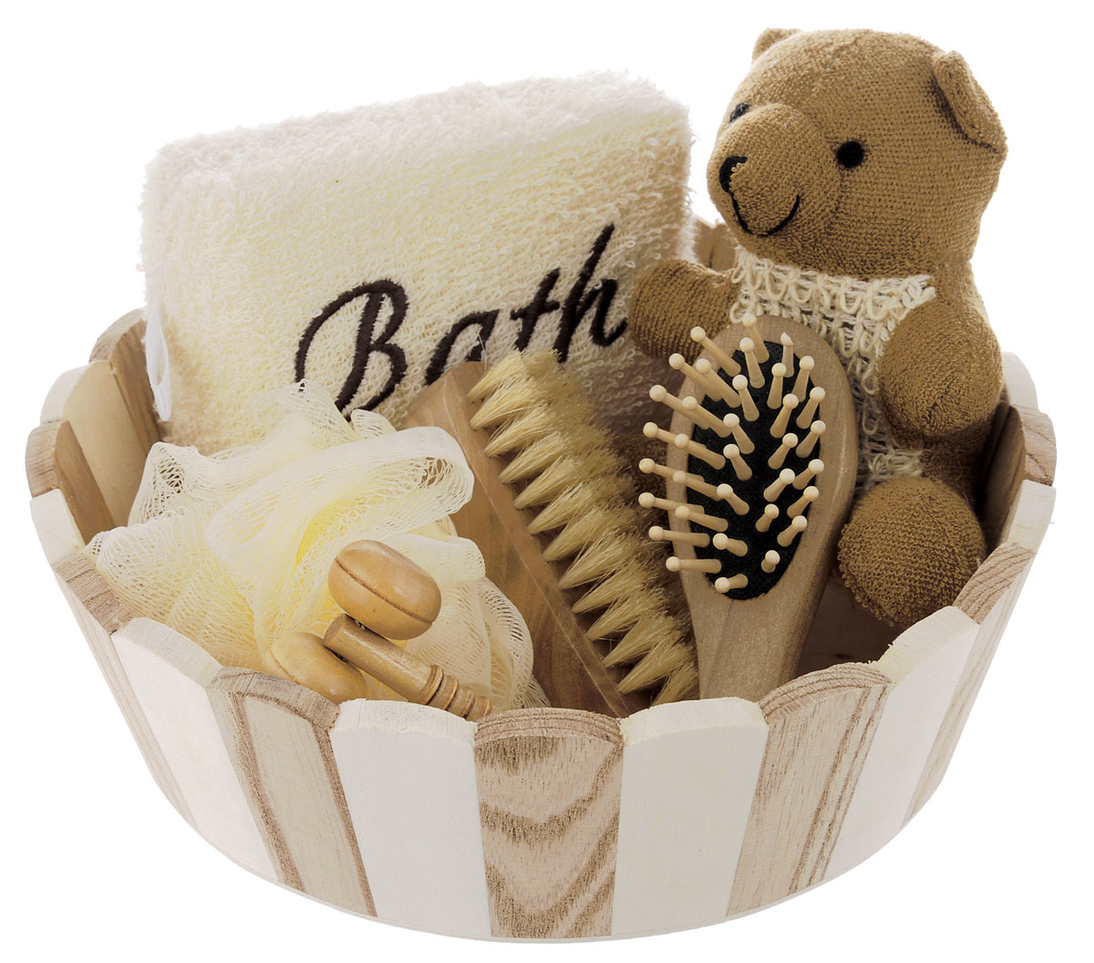 Набор для ванной и бани Феникс-презент Мишка, 7 предметов40637Набор для ванной и бани Феникс-презент Мишка включает: - массажный ролик из древесины павловнии, - мочалка для купания из сизаля, - мочалка для купания из сизаля и полиэстера,- расческа из древесины павловнии,- мочалка для купания из полиэтилена,- щетка для тела со свинцовой щетиной, - лохань из древесины тополя. Такой мини-набор пригодится в любой бане и сделает банную процедуру еще более комфортной и расслабляющей. Размер массажного ролика: 11 х 4 х 2,5 см. Диаметр мочалки: 11 см. Размер расчески: 12 х 4 х 3 см. Размер мочалки из сизаля: 10 х 7 х 14, Размер мочалка из сизаля и полиэстера: 12 х 9 х 5 см,Размер щетки со свинцовой щетиной: 10 х 4 х 3,5 см, Размер лохани: 22 х 22 х 6,5 см.
