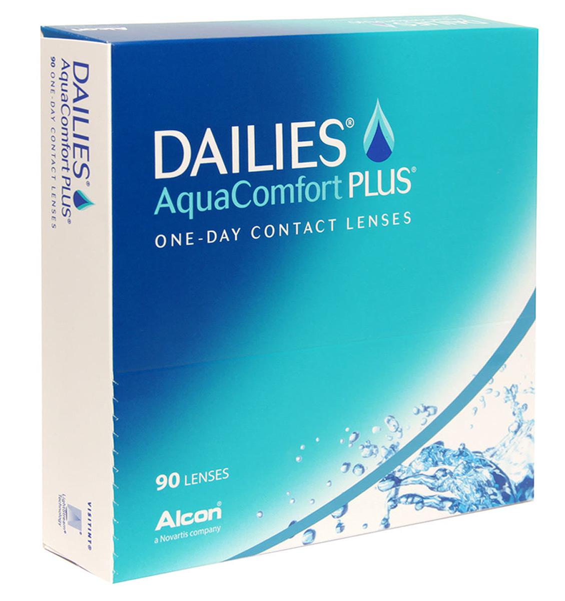Alcon-CIBA Vision контактные линзы Dailies AquaComfort Plus (90шт / 8.7 / 14.0 / -5.00)12086Dailies AquaComfort Plus - это одни из самых популярных однодневных линз производства компании Ciba Vision. Эти линзы пользуются огромной популярностью во всем мире и являются на сегодняшний день самыми безопасными контактными линзами. Изготавливаются линзы из современного, 100% безопасного материала нелфилкон А. Особенность этого материала в том, что он легко пропускает воздух и хорошо сохраняет влагу. Однодневные контактные линзы Dailies AquaComfort Plus не нуждаются в дополнительном уходе и затратах, каждый день вы надеваете свежую пару линз. Дизайн линзы биосовместимый, что гарантирует безупречный комфорт. Самое главное достоинство Dailies AquaComfort Plus - это их уникальная система увлажнения. Благодаря этой разработке линзы увлажняются тремя различными агентами. Первый компонент, ухаживающий за линзами, находится в растворе, он как бы обволакивает линзу, обеспечивая чрезвычайно комфортное надевание. Второй агент выделяется на протяжении всего дня, он непрерывно смачивает линзы. Третий - увлажняющий агент, выделяется во время моргания, благодаря ему поддерживается постоянный комфорт. Также линзы имеют УФ-фильтр, который будет заботиться о ваших глазах. Dailies AquaComfort Plus - одни из лучших линз в своей категории. Всемирно известная компания Ciba Vision, создавая эти контактные линзы, попыталась учесть все потребности пациентов и ей это удалось! Характеристики:Материал: нелфилкон А. Кривизна: 8.7. Оптическая сила: - 5.00. Содержание воды: 69%. Диаметр: 13,8 мм. Количество линз: 90 шт. Размер упаковки: 15 см х 15,5 см х 3 см. Производитель: США. Товар сертифицирован.Контактные линзы или очки: советы офтальмологов. Статья OZON Гид