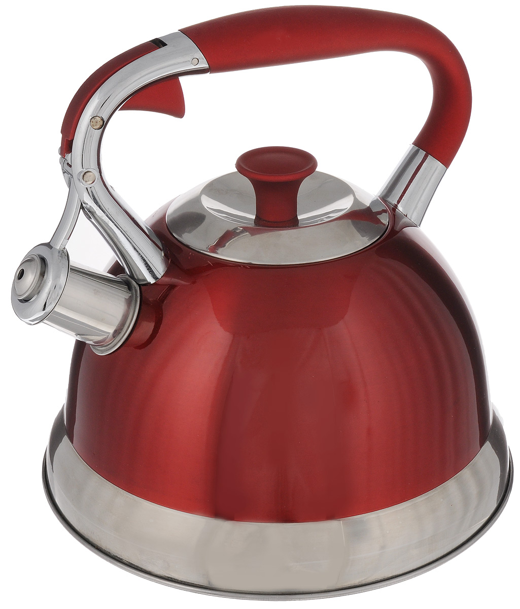 Чайник Mayer & Boch, со свистком, цвет: красный, 2,7 лМВ-23170_красныйЧайник Mayer & Boch изготовлен из высококачественной нержавеющей стали. Внешнее цветное термостойкое покрытие корпуса придает изделию безупречный внешний вид. Изделие оснащено бакелитовой ручкой эргономичной формы с силиконовым покрытием и свистком, который громко оповещает о закипании воды. Можно использовать на всех видах плит, кроме индукционных. Можно мыть в посудомоечной машине.Диаметр (по верхнему краю): 9,5 см.Высота чайника (без учета ручки и крышки): 13 см.Высота чайника (с учетом ручки и крышки): 23 см.