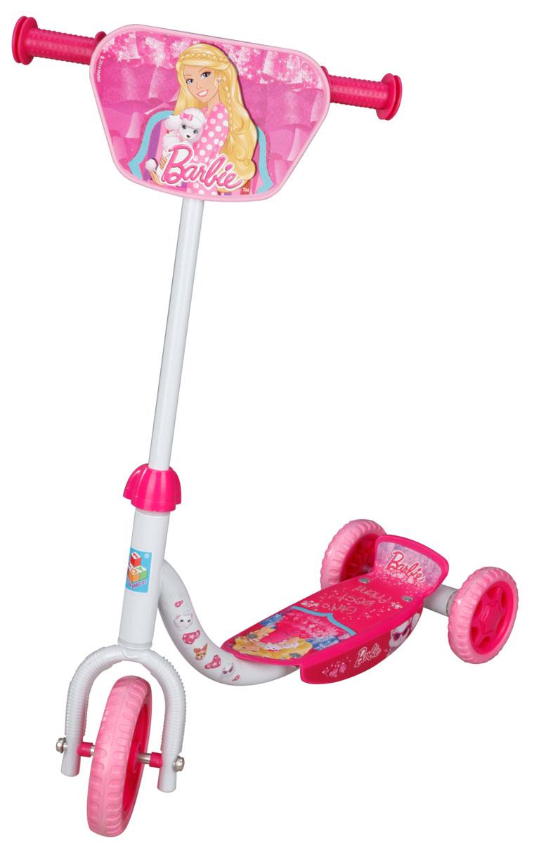 1TOY Самокат детский трехколесный Barbie цвет белый розовыйТ56921Детский самокат 1TOY Barbie с декоративной панелью на ручках непременно понравится вашей принцессе. Он легкий и маневренный. Даже при постоянном использовании самокат смело прослужит несколько лет. Ручки самоката выполнены таким образом, что ребенку будет очень удобно за них держаться, и руки малышки не будут скользить. Площадка для ног снабжена противоскользящим покрытием. Колеса имеют хорошее сцепление с поверхностью и обеспечивают комфортное движение без тряски.Создан самокат специально для активного отдыха, чтобы ребенок имел возможность совмещать полезное времяпрепровождение и приятные физические нагрузки.