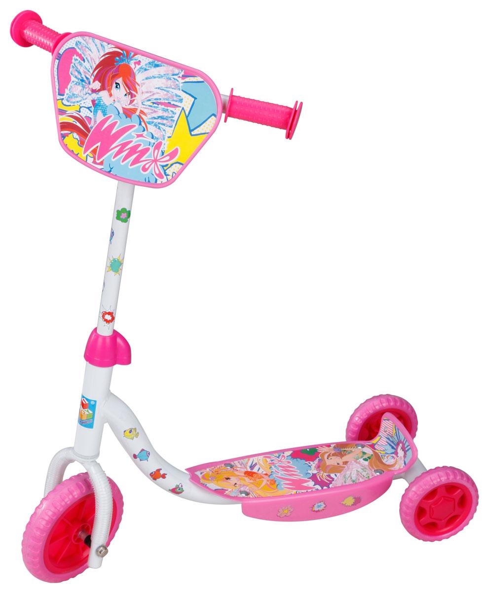 1TOY Самокат детский трехколесный Winx цвет розовый белыйТ56810Детский самокат 1TOY Winx с декоративной панелью на ручках непременно понравится вашей принцессе. Он легкий и маневренный. Даже при постоянном использовании самокат смело прослужит несколько лет. Ручки самоката выполнены таким образом, что ребенку будет очень удобно за них держаться, и руки малышки не будут скользить. Площадка для ног снабжена противоскользящим покрытием. Колеса имеют хорошее сцепление с поверхностью и обеспечивают комфортное движение без тряски.Создан самокат специально для активного отдыха, чтобы ребенок имел возможность совмещать полезное времяпрепровождение и приятные физические нагрузки.