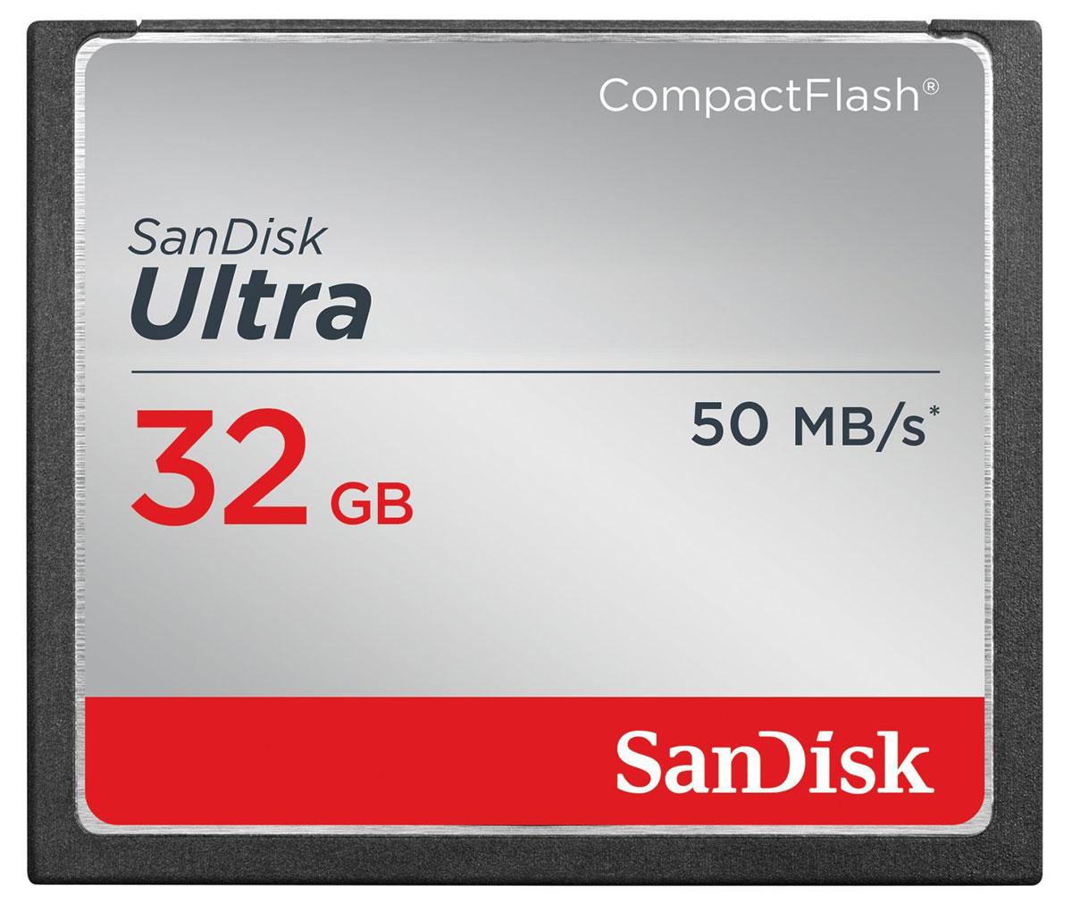 SanDisk Ultra CompactFlash 32GB карта памятиSDCFHS-032G-G46Высокая скорость передачи данных и стабильная производительность карт памяти SanDisk Ultra CompactFlash помогают полностью раскрыть потенциал фотоаппаратов, видеокамер и других устройств, рассчитанных на карты памяти CompactFlash. Емкость этих карт CompactFlash достигает 32 ГБ, чтобы вы могли вести съемку, не беспокоясь о количестве свободного места.Карты памяти SanDisk Ultra CompactFlash отличаются идеальным сочетанием надежности, цены и производительности для любителей фотографии, пользующихся зеркальными цифровыми фотоаппаратами начального и среднего уровней. Снимайте мимолетные мгновенья и экономьте время на перемещении файлов на компьютер благодаря скорости передачи данных до 50 МБ/с (8-32 ГБ). Карты памяти SanDisk Ultra CompactFlash - это надежные и высокопроизводительные устройства для съемки и хранения фотографий и видео. Поэтому фотографы по всему миру отдают предпочтение картам SanDisk, когда речь заходит о хранении важнейших воспоминаний.На картах памяти SanDisk Ultra CompactFlash достаточно места для хранения фотографий высокого разрешения, в том числе в форматах RAW и JPEG.