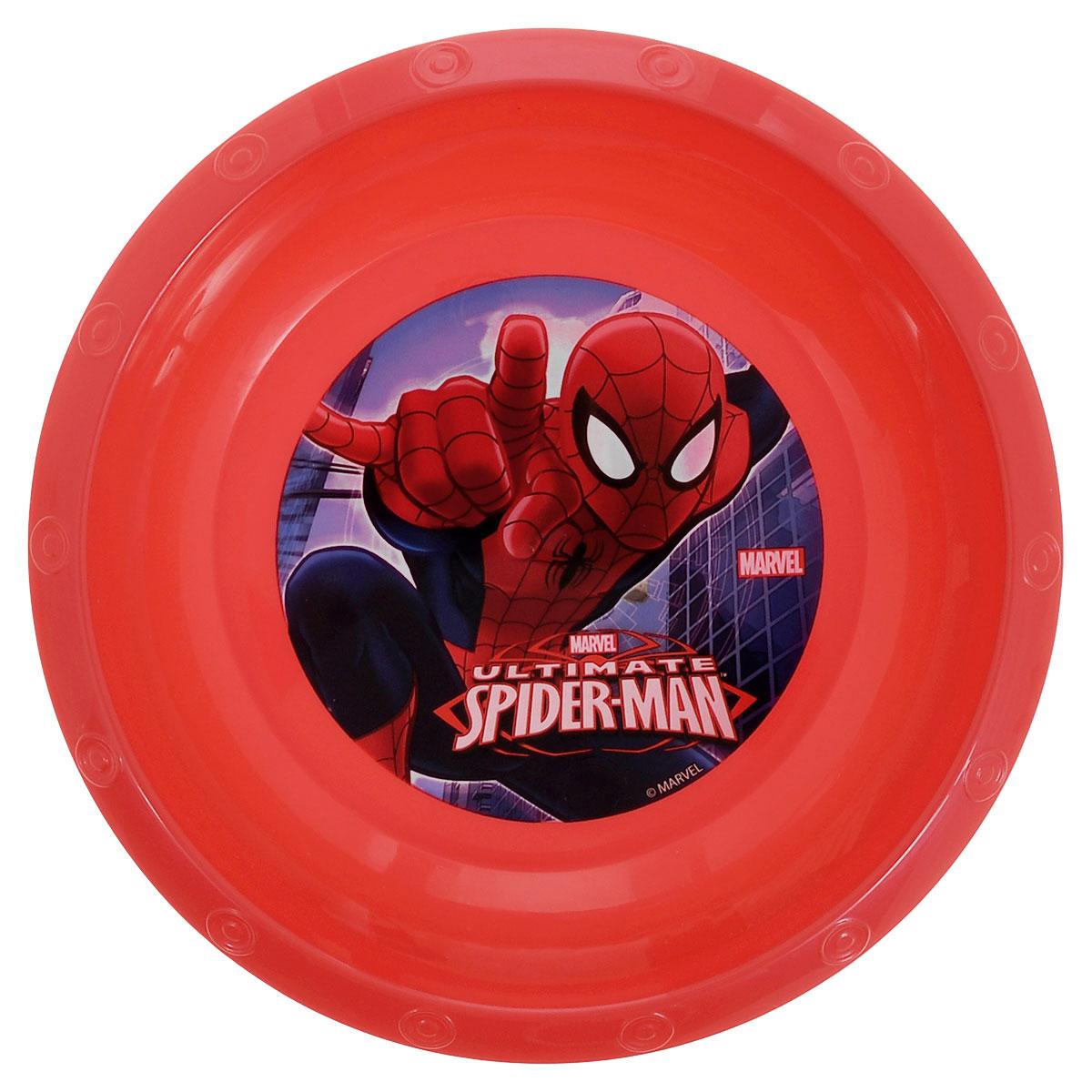 """Яркая миска Marvel """"Spider-Man"""", изготовленная из безопасного полипропилена красного цвета, непременно  понравится юному обладателю. Дно миски оформлено изображением супергероя - человека-паука из  одноименного мультсериала. Изделие очень функционально, пригодится на кухне для самых разнообразных нужд. Рекомендуется для детей от: 3 лет."""