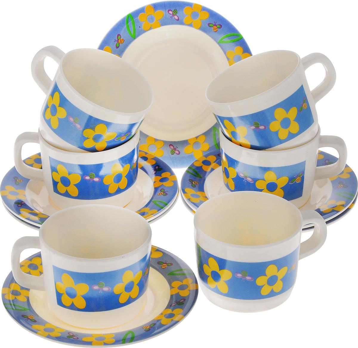 Набор чайный Calve, 12 предметовCL-2509Чайный набор Calve состоит из шести чашек и шести блюдец, выполненных из высококачественного пластика. Изделия оформлены цветочным рисунком. Изящный набор эффектно украсит стол к чаепитию и порадует вас функциональностью и ярким дизайном. Можно мыть в посудомоечной машине.Диаметр блюдца: 14,5 см. Объем чашки: 240 мл. Диаметр чашки (по верхнему краю): 8 см. Высота чашки: 6,5 см.