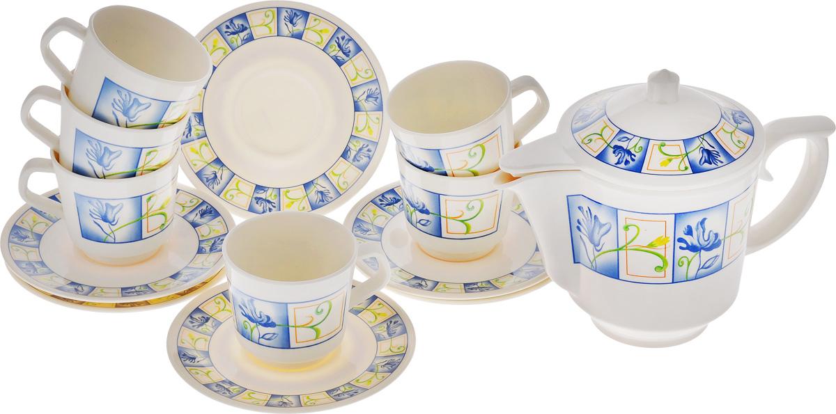 Набор чайный Calve, 13 предметов. CL-2512539105 536Чайный набор Calve состоит из шести чашек, шести блюдец и заварочного чайника, выполненных из высококачественного пластика. Изделия оформлены цветочным рисунком.Изящный набор эффектно украсит стол к чаепитию и порадует вас функциональностью и ярким дизайном. Можно мыть в посудомоечной машине. Диаметр блюдца: 14,5 см.Объем чашки: 200 мл.Диаметр чашки (по верхнему краю): 7,5 см.Высота чашки: 7,2 см. Объем чайника: 1 л. Высота стенок чайника: 12,5 см.