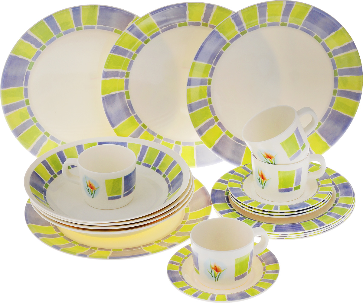 Набор столовой посуды Calve, 20 предметовCL-2514Набор Calve состоит из 4 суповых тарелок, 4 обеденныхтарелок, 4 десертных тарелок, 4 блюдец и 4 чашек. Изделия выполнены извысококачественного пластика, имеют яркий дизайн с изящным орнаментом. Посуда отличается прочностью,гигиеничностью и долгим сроком службы, она устойчива к появлению царапин. Такой набор прекрасно подойдет как для повседневного использования, так идля праздников или особенных случаев. Набор столовой посуды Calve - это не только яркий иполезный подарок для родных и близких, а также великолепное дизайнерскоерешение для вашей кухни или столовой. Диаметр суповой тарелки (по верхнему краю): 23 см. Высота суповой тарелки: 4,5 см.Диаметр обеденной тарелки (по верхнему краю): 26,5 см. Высота обеденной тарелки: 1,7 см. Диаметр десертной тарелки (по верхнему краю): 20 см. Высота десертной тарелки: 1,2 см. Диаметр блюдца (по верхнему краю): 14,6 см. Высота блюдца: 1,5 см.Объем чашки: 237 мл.Диаметр чашки (по верхнему краю): 8 см.Высота чашки: 6,5 см.