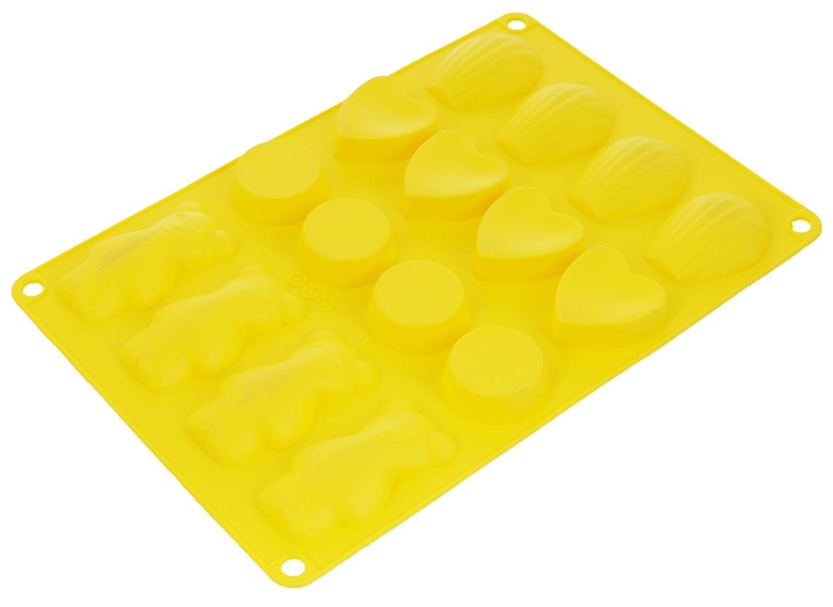 Форма для выпечки Taller, цвет: желтый, 16 ячеекTR-6213_жёлтыйФорма для выпечки Taller изготовлена из высококачественного силикона. Изделия из силикона очень удобны в использовании: пища в них не пригорает и не прилипает к стенкам, форма легко моется. Приготовленное блюдо можно очень просто вытащить, просто перевернув форму, при этом внешний вид блюда не нарушится. Изделие обладает эластичными свойствами: складывается без изломов, восстанавливает свою первоначальную форму. Форма содержит 16 разных ячеек. Порадуйте своих родных и близких любимой выпечкой в необычном исполнении. Подходит для приготовления в микроволновой печи и духовом шкафу при нагревании до +220°С, для замораживания до -20°С. Можно мыть в посудомоечной машине. Размер формы: 30 х 18,5 см.Средний размер ячейки: 7,5 х 4 см.Высота стенок: 1,5 см.Количество ячеек: 16 шт.