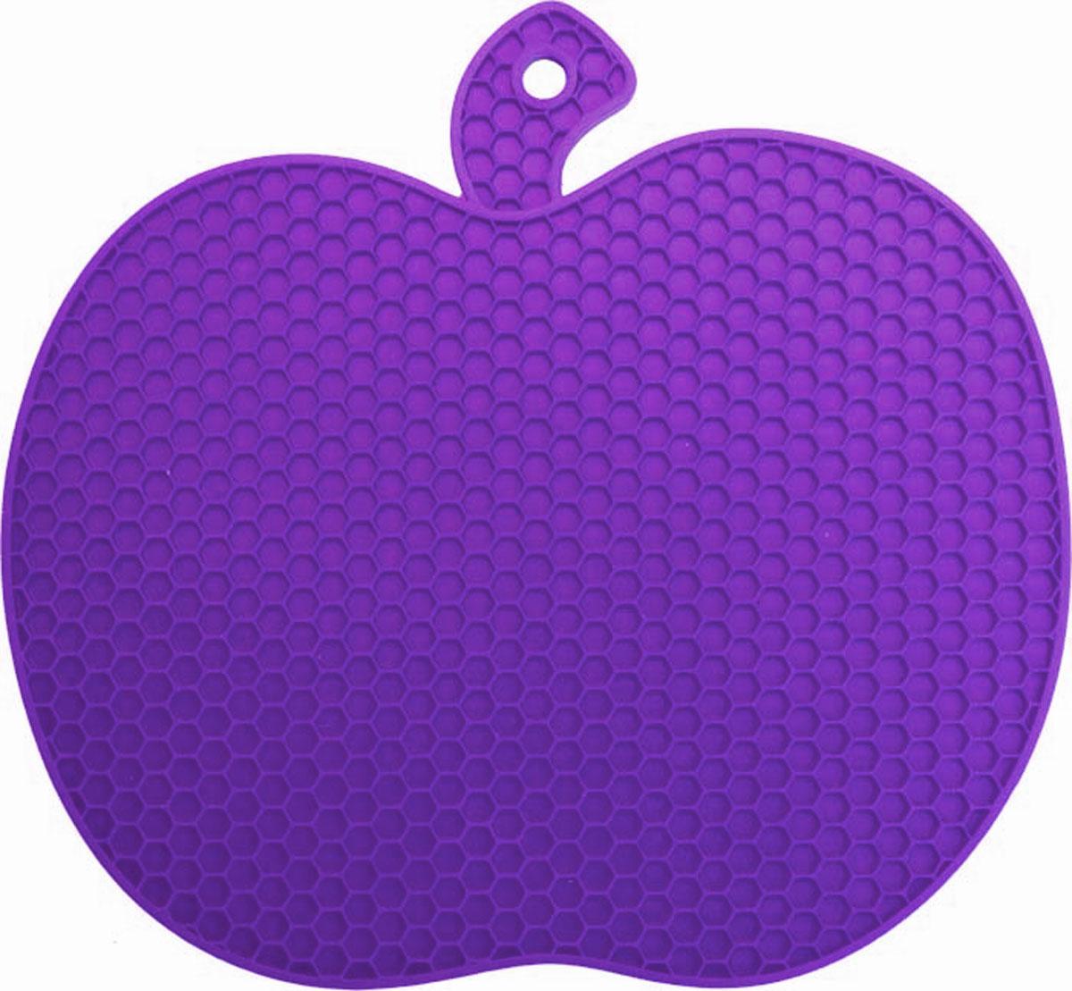 Подставка под горячее Marmiton Яблоко, силиконовая, цвет: фиолетовый, 19 х 18 х 0,6 см12134_фиолетовыйПодставка под горячее Marmiton Яблоко станет забавным украшением вашей кухни. Подставка изготовлена из силикона, что позволяет ей выдерживать высокие температуры и не поцарапать поверхность стола. Силикон устойчив к фруктовым кислотам, обладает естественным антипригарным свойством Такая подставка придется по вкусу человеку, ценящему практичные и оригинальные вещи. Можно мыть и сушить в посудомоечной машине. Размер подставки: 19 х 18 х 0,6 см.