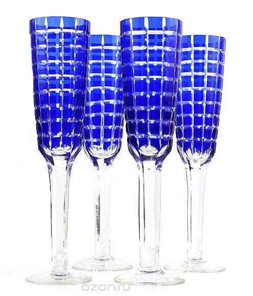 Набор из 4-х бокалов для шампанского в стиле Фаберже. Хрусталь. Вторая половина XX века фаберже ваза гранд эмеральд хрусталь гранение гравировка фаберже франция конец xx века