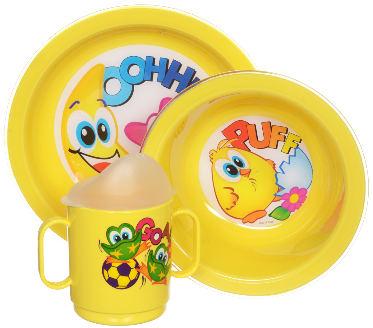 """Набор детской посуды Cosmoplast """"Baby Tris Set"""" состоит из суповой тарелки, обеденной тарелки, чашки с двумя ручками и крышки-поильника. Все предметы набора изготовлены из высококачественного пищевого пластика по специальной технологии, которая гарантирует простоту ухода, прочность и безопасность изделий для детей. Предметы сервиза оформлены красочными рисунками, которые обязательно понравятся вашему малышу.  Объем кружки: 250 мл.   Не содержит бисфенол А."""