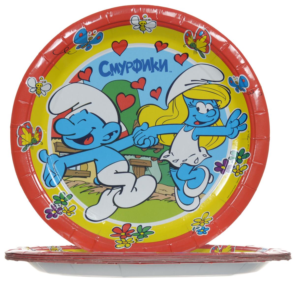 Смурфики Набор одноразовых тарелок цвет красный 10 шт -  Сервировка праздничного стола