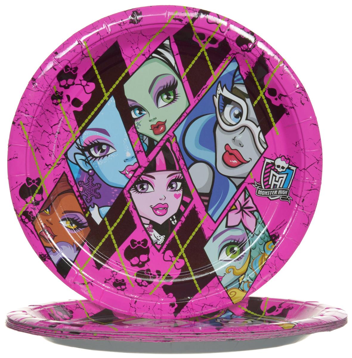 Monster High Набор одноразовых тарелок цвет розовый 10 шт -  Сервировка праздничного стола