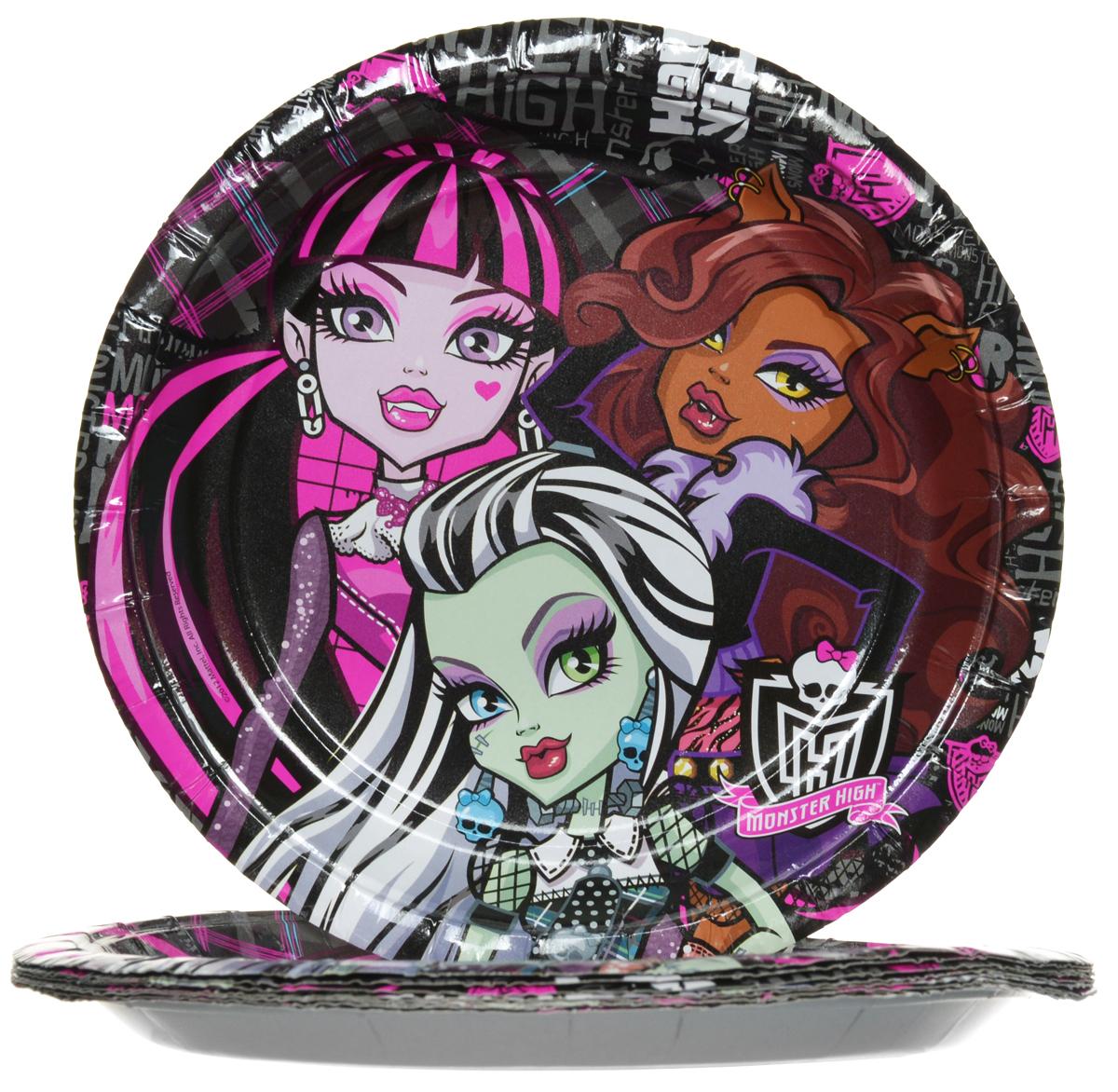 Monster High Набор одноразовых тарелок диаметр 18 см 10 шт, Росмэн