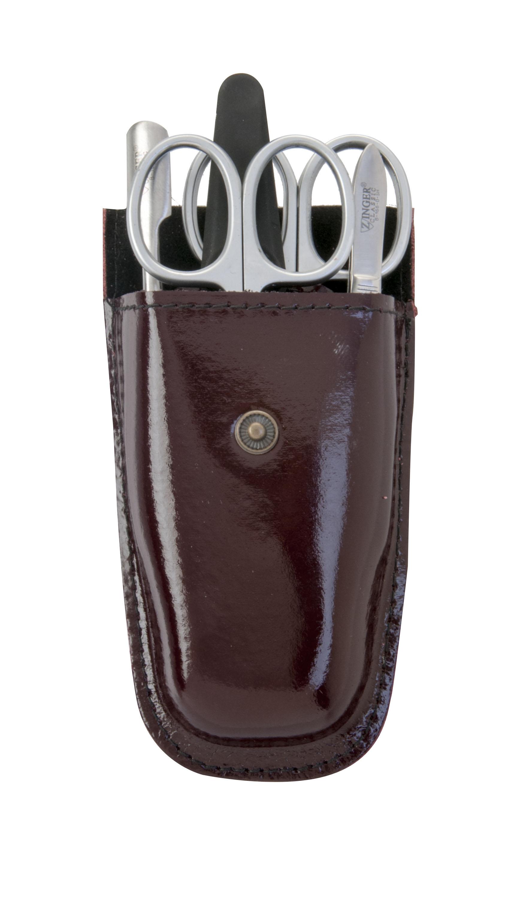 Zinger Маникюрный набор zMs Z-5-D-N21815Ман. набор 5 предметов (ножницы кутикульные, ножницы ногтевые, пилка алмазная, металлический двусторонний шабер , пинцет). Чехол натуральная кожа. Цвет инструментов - матовое серебро. Оригинальня фирменная коробка
