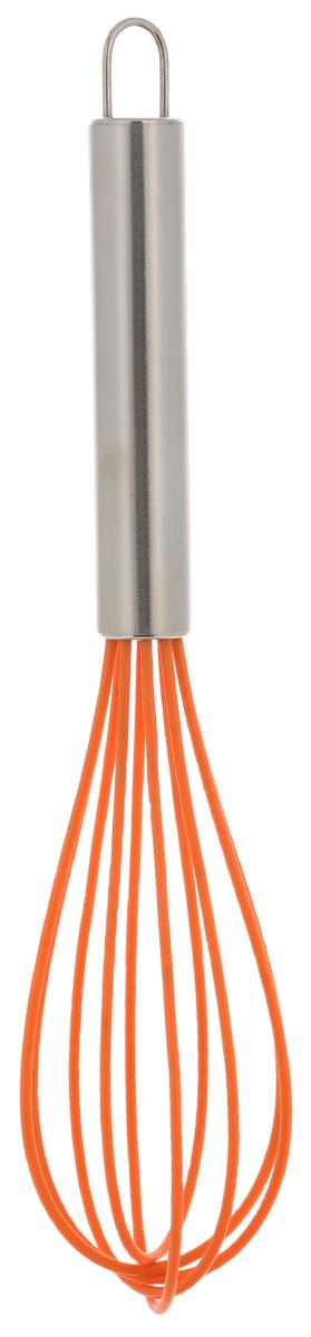 Венчик для взбивания силиконовый - прекрасная альтернатива стандартным  металлическим венчикам, силиконовое покрытие рабочей поверхности не  царапает посуду, не впитывает жир и запахи, и безопасно для посуды с  антипригарным покрытием, легко моется. Ручка выполнена из  коррозионностойкой стали. Венчики представлены в трех цветах — зеленом,  красном и оранжевом.  Длина венчика: 25 см.   Размер рабочей поверхности: 13 х 5,5 см.