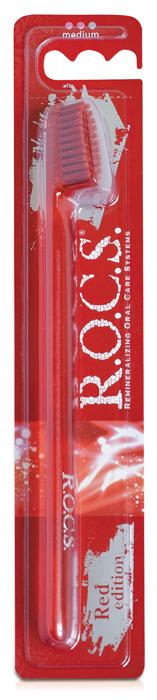 R.O.C.S. Зубная щетка RED Edition Classic, средняя жесткость327004602Форма щетки, повторяющая контуры зубного ряда, обеспечивает качественную очистку всех поверхностей зубов, в том числе труднодоступных.
