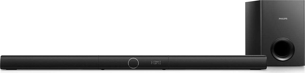 Philips HTL2183B/12 саундбарHTL2183B/12Смотрите фильмы на телевизоре, наслаждаясь повышенной четкостью голоса и виртуальным объемным звучанием — или передавайте музыку в беспроводном режиме через Bluetooth.Выделенная АС центрального канала для непревзойденной четкости речи:АС центрального канала настроена на частоту воспроизведения голоса и направляет звук ближе к центру экрана. Она гарантирует чистое звучание, позволяя полностью погрузиться в просмотр кинофильма.Virtual Surround Sound гарантирует реалистичный звук при просмотре фильмов:Технология Virtual Surround Sound от Philips обеспечивает насыщенный, невероятно объемный звук как из пяти акустических систем, но с меньшим количеством АС. Высокотехнологичные пространственные алгоритмы точно воссоздают акустические характеристики, которые присущи идеальной 5.1-канальной среде. Любой высококачественный источник стереосигнала преобразуется в реалистичный, многоканальный объемный звук. Не нужно приобретать дополнительные АС, кабели или стойки, чтобы оценить звучание, наполняющее комнату.Беспроводная передача звука через Bluetooth:Bluetooth — это надежная и энергоэффективная технология беспроводной связи малого радиуса действия. Она позволяет устанавливать беспроводное подключение между различными Bluetooth-устройствами и воспроизводить на АС с поддержкой Bluetooth музыку со смартфонов, планшетных ПК и ноутбуков, а также с устройств iPod или iPhone.EasyLink для управления всеми устройствами HDMI CEC с одного пульта ДУ:EasyLink позволяет управлять несколькими устройствами — например, DVD-плеерами, проигрывателями Blu-ray, саундбарами (звуковыми панелями), домашними кинотеатрами, телевизорами и др. — при помощи одного пульта ДУ. С помощью протокола промышленного стандарта HDMI CEC данная технология обеспечивает объединение функций устройств через кабель HDMI. Теперь вы сможете одним нажатием кнопки одновременно управлять всеми подключенными устройствами с поддержкой HDMI CEC. Использование таких функций, как запуск воспр