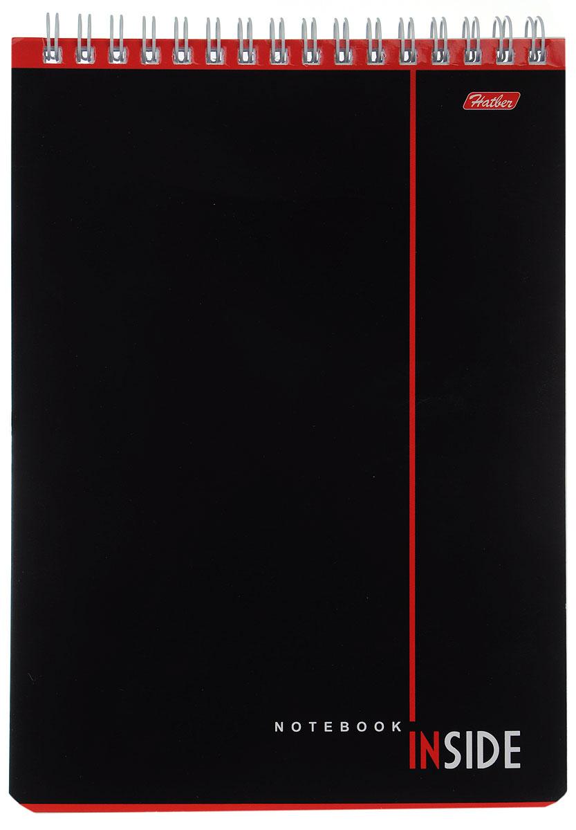 Hatber Блокнот Inside 80 листов в клетку80Б5B1гр_05600Блокнот Hatber Inside - незаменимый атрибут современного человека, необходимый для рабочих и повседневных записей в офисе и дома.Фронтальная часть обложки выполнена из картона. Тыльная часть обложки выполнена из плотного картона, что позволяет делать записи на весу. Внутренний блок состоит из 80 листов белой бумаги. Стандартная линовка в голубую клетку без полей. Листы блокнота соединены металлическим гребнем.