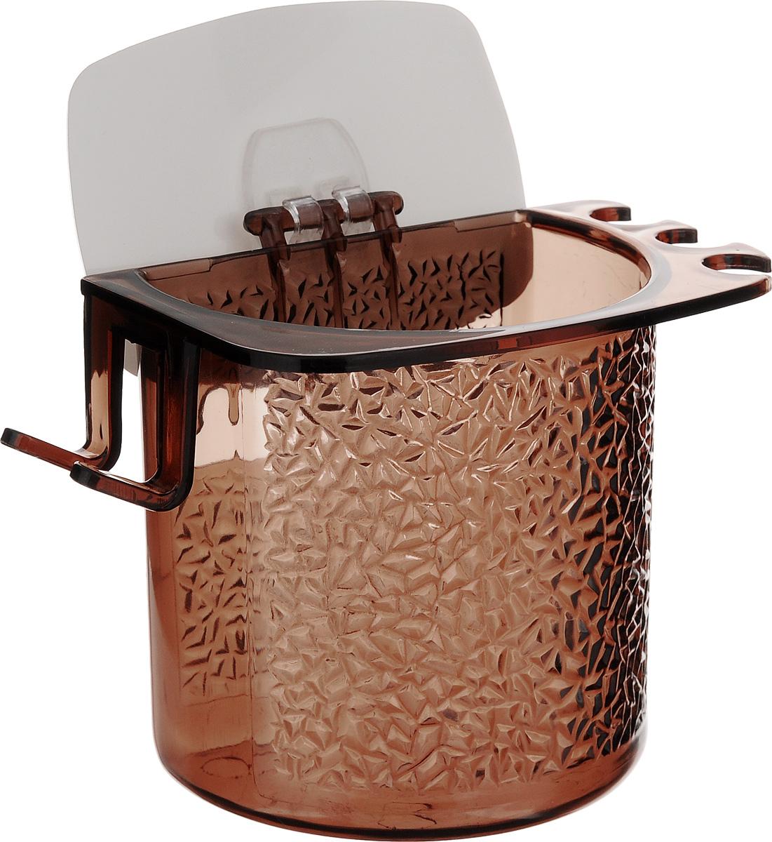 Стакан для ванной Fresh Code, на липкой основе, цвет: коричневый стакан для ванной fresh code бамбук цвет салатовый 500 мл