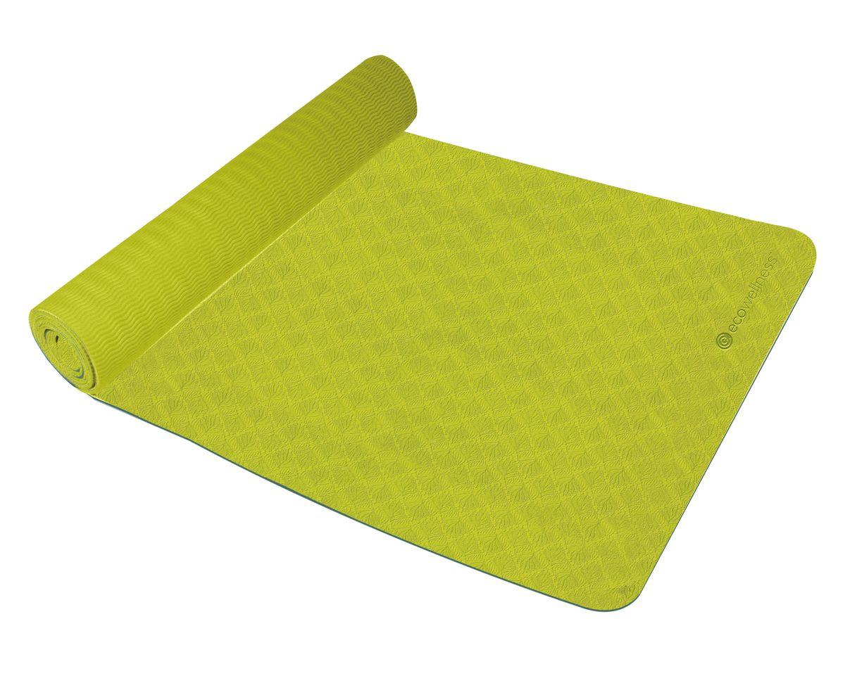 Kоврик для йоги Ecowellness, цвет: салатовыйQB-8302G3-4MM-SПрочный и мягкий коврик из TPE (термопластичный эластомер) обеспечивает вашу безопасность и комфорт при занятиях. Идеально подходит для занятий йогой и фитнесом. Легко чистится. Двухцветный дизайн.В комплект входит ремень для переноски. Размер коврика 173 х 61 см, толщина: 4 мм.Привлекательная индивидуальная упаковка.Отличный подарок для любителей йоги.Йога: все, что нужно начинающим и опытным практикам. Статья OZON Гид