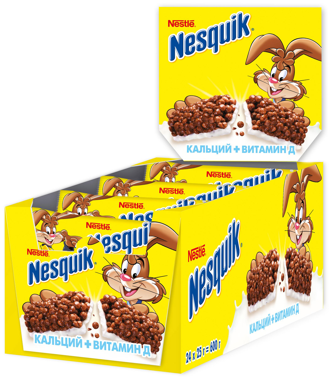 Nestle Nesquik Шоколадный батончик с цельными злаками, 24 шт по 25 г nestle nesquik шоколадные шарики duo готовый завтрак 700 г