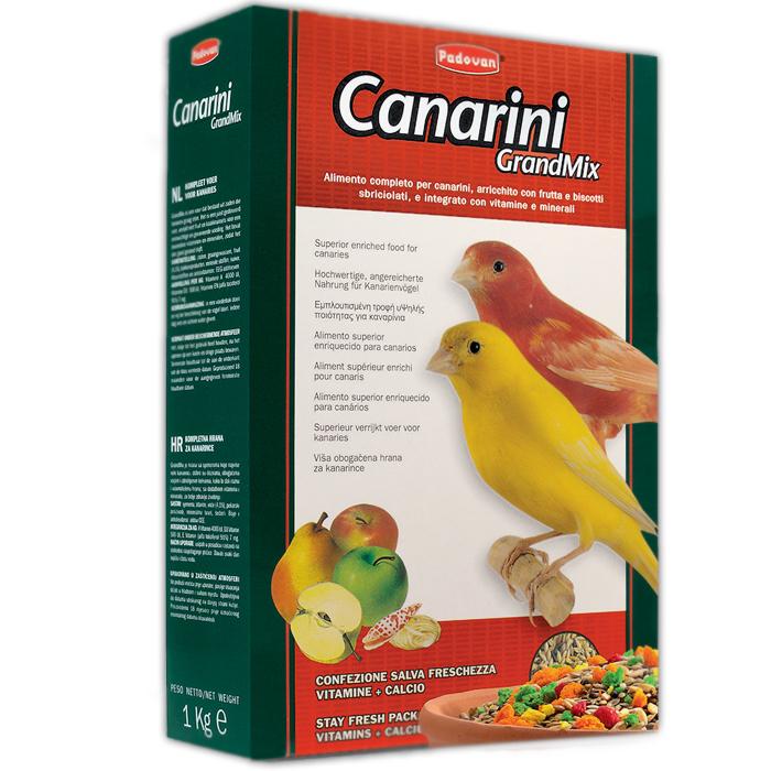 Корм для канареек Padovan Grandmix Canarini, 1 кг16820Корм для канареек Padovan Grandmix Canarini - это комплексный полнорационный корм, смесь зерен и семян с сушеными фруктами, раскрошенным печеньем и измельченными ракушками, с витаминными добавками. Состав: семена, злаки, минеральные вещества (измельченные ракушки 3,5%), хлебопродукты (печенье 3%), фрукты (яблоко 0,5%, груша 0,5%). Добавки на 1 кг продукта: Пищевые добавки: витамин А - 4000 МЕ, витамин D3 - 500 МЕ, витамин Е (а-токоферол) - 7 мг. Пищевые красители. Товар сертифицирован.