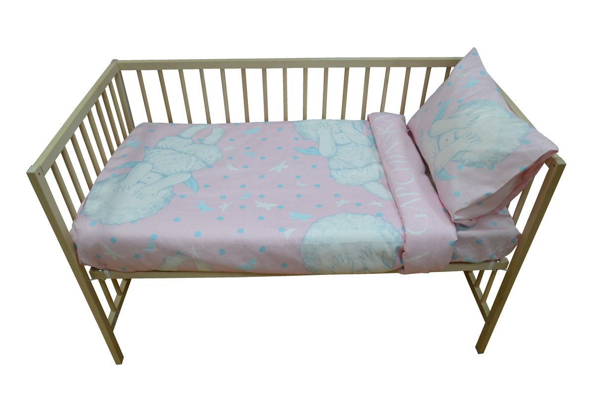 Коллекция Комплект детского постельного белья Бабочки в моей голове простыня на резинке цвет розовой