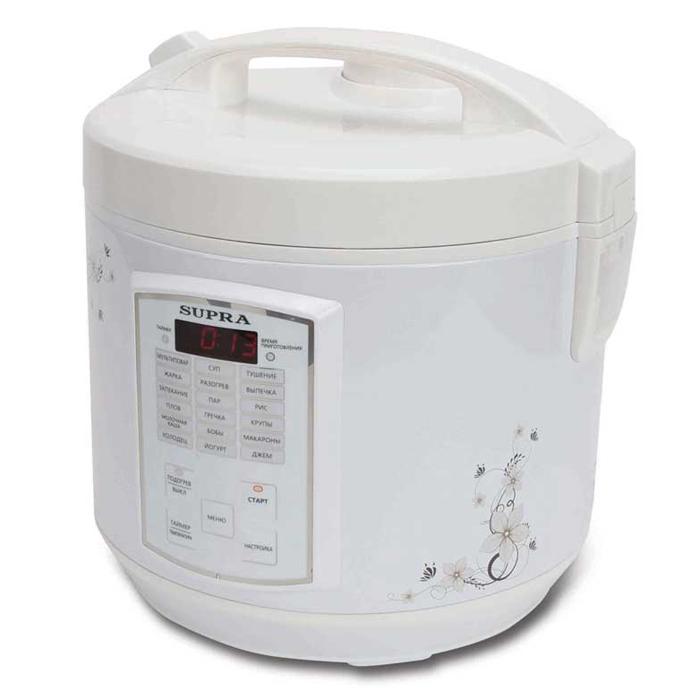 Supra MCS-5181 мультиваркаMCS-5181С помощью мультиварки Supra MCS-5181 вы приготовите тушеное мясо или же овощи на пару быстро и без лишних усилий. В случае необходимости вы можете вручную отрегулировать температуру и время готовки блюд. Прибор автоматически будет поддерживать тепло, а если вы хотите получить рано утром вкусный завтрак, то можете запрограммировать функцию отложенного старта.Множество автоматических программ позволяют без труда приготовить различные блюда. За готовкой не нужно следить, это существенно сэкономит ваше время. Съемная чаша с антипригарным покрытием позволяет готовить блюда без использования масла, отлично проводит тепло и прекрасно подходит для жарки, тушения, выпечки и варки каш.ДисплейЕмкость для сбора конденсатаЗвуковая сигнализация окончания приготовленияСветовая индикация выбранного режимаЧасы