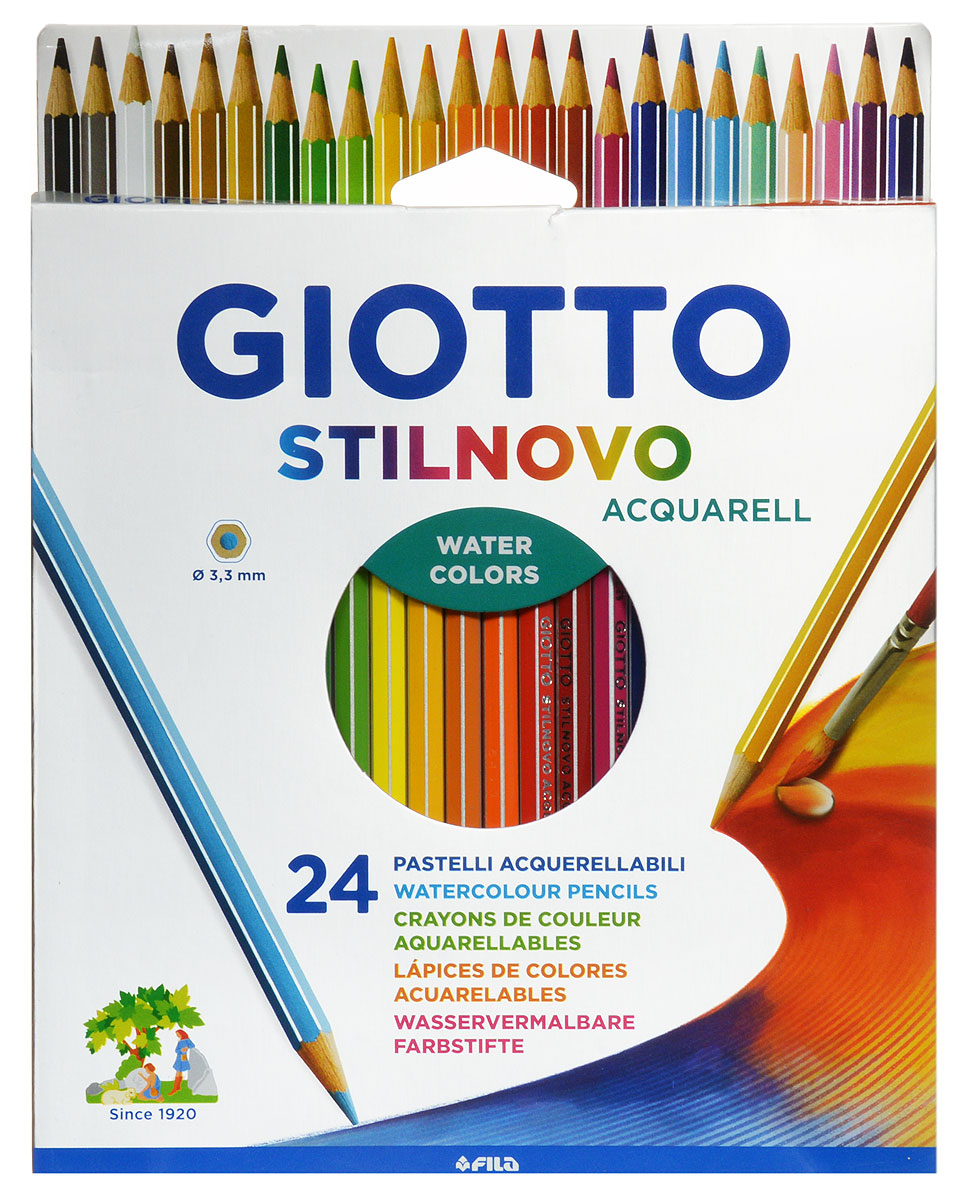 Giotto Набор цветных карандашей Stilnovo Acquarell 24 цвета255800Цветные карандаши Glotto Stilnovo Acquarell непременно понравятся вашему юному художнику.Набор включает в себя 24 ярких насыщенных цветных карандаша гексагональной формы с серебряным нанесением по ребру грани. Идеально подходят для школы. Карандаши изготовлены из сертифицированного дерева, экологически чистые, имеют прочный неломающийся грифель, не требующий сильного нажатия и легко затачиваются. На рубашке карандаша имеется место для нанесения имени.Порадуйте своего ребенка таким восхитительным подарком!
