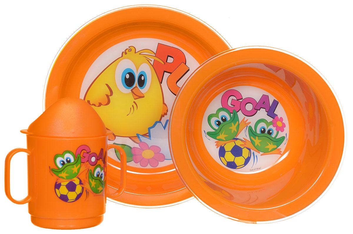 Cosmoplast Набор детской посуды Baby Tris Set Цыпленок 3 предмета2548_оранжевыйНабор детской посуды Cosmoplast Baby Tris Set. Цыпленок состоит из суповой тарелки, обеденной тарелки, чашки с двумя ручками и крышки, при помощи которой чашку можно сделать поильником. Все предметы набора изготовлены из высококачественного пищевого пластика по специальной технологии, которая гарантирует простоту ухода, прочность и безопасность изделий для детей. Предметы сервиза оформлены красочными рисунками, которые обязательно понравятся вашему малышу.Не содержит бисфенол.