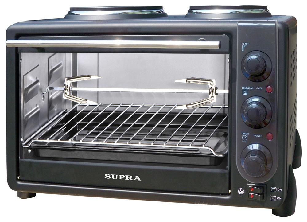 Supra MTS-342, Black электропечьMTS-342 blackSupra MTS-342 - компактная электропечь, которая легко поместиться даже в небольшой кухне. Данная модель позволяет не только приготовить блюда на электрических конфорках, но и в духовке. Благодаря наличию режима приготовления с вращающимся вертелом, печь позволяет готовить продукты-гриль, равномерно обжаривая кусковые порции продуктов.Индикатор включения конфорокТаймер на 60 минутДиаметр конфорок: 156/188 ммРегулировка температуры: от 0 до 250°С Мощность духовки: 1600 ВтМощность конфорок: 700 Вт/1000 ВтДверца из закалённого стеклаПротивоскользящие ножки