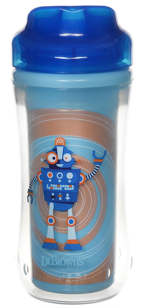 Dr.Brown's Чашка-термос 300 мл без носика 12+ месяцев Синий Робот