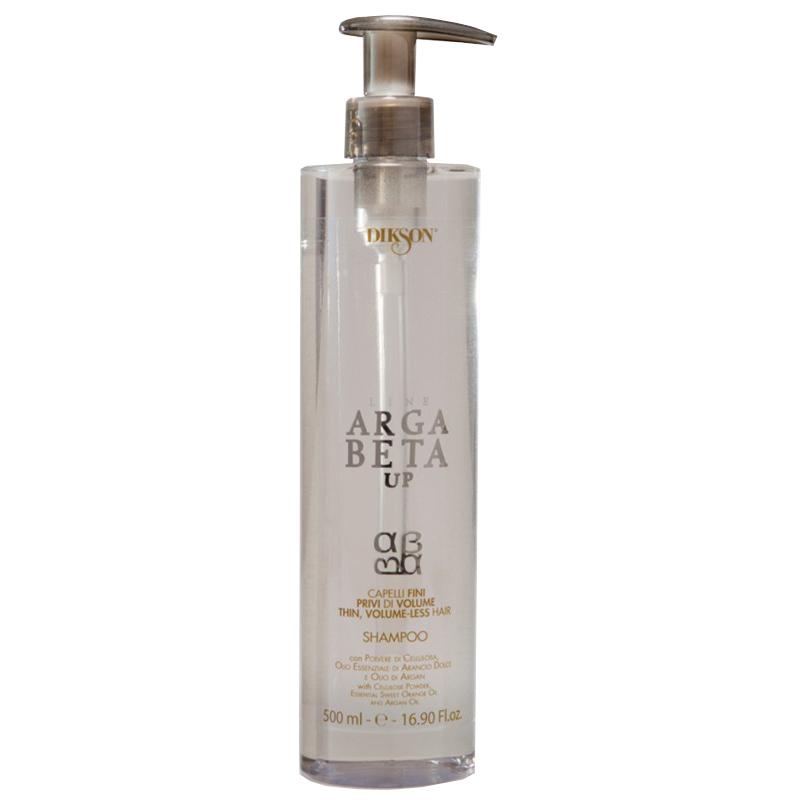 Dikson Shampoo Argabeta Up Capelli Di Volume Шампунь для тонких волос 500 млdiks2472Шампунь для тонких, лишенных объема волос с порошкообразной целлюлозой, эфирным маслом сладкого апельсина, маслом Аргана. Создает эффект дополнительной пышности и объема, способствует укреплению волосяного волокна изнутри, делает тонкие волосы более густыми и сильными, придает им естественный объем от корней до кончиков, восстанавливает структуру волос, придавая им ощутимую легкость, мягкость и блеск.
