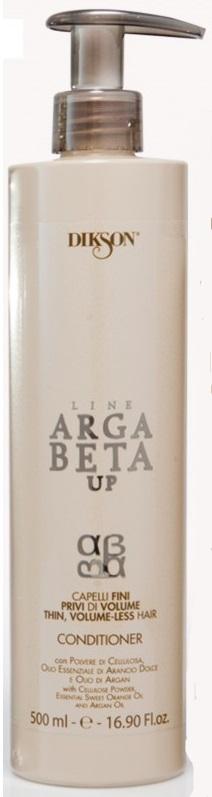 Dikson Conditioner Argabeta Up Capelli Di Volume Кондиционер для тонких волос 500 млХЭККондиционер ArgaBeta Up на основе эфирного масла аргании, масла сладкого апельсина и целлюлозы разработан, чтобы заботиться о тонких и лишенных объема волосах. При связи с водой, порошок целлюлозы приумножается и обеспечивает полноту волоса от корня до кончиков. Масло сладкого апельсина и аргановое масло действуют на волосы укрепляюще. Волосы накапливают естественную силу, становятся гладкими, густыми, приобретают объем.