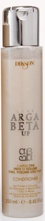Dikson Conditioner Argabeta Up Capelli Di Volume Кондиционер для тонких волос 250 млdiks2474Кондиционер ArgaBeta Up на основе эфирного масла аргании, масла сладкого апельсина и целлюлозы разработан, чтобы заботиться о тонких и лишенных объема волосах. При связи с водой, порошок целлюлозы приумножается и обеспечивает полноту волоса от корня до кончиков. Масло сладкого апельсина и аргановое масло действуют на волосы укрепляюще. Волосы накапливают естественную силу, становятся гладкими, густыми, приобретают объем.