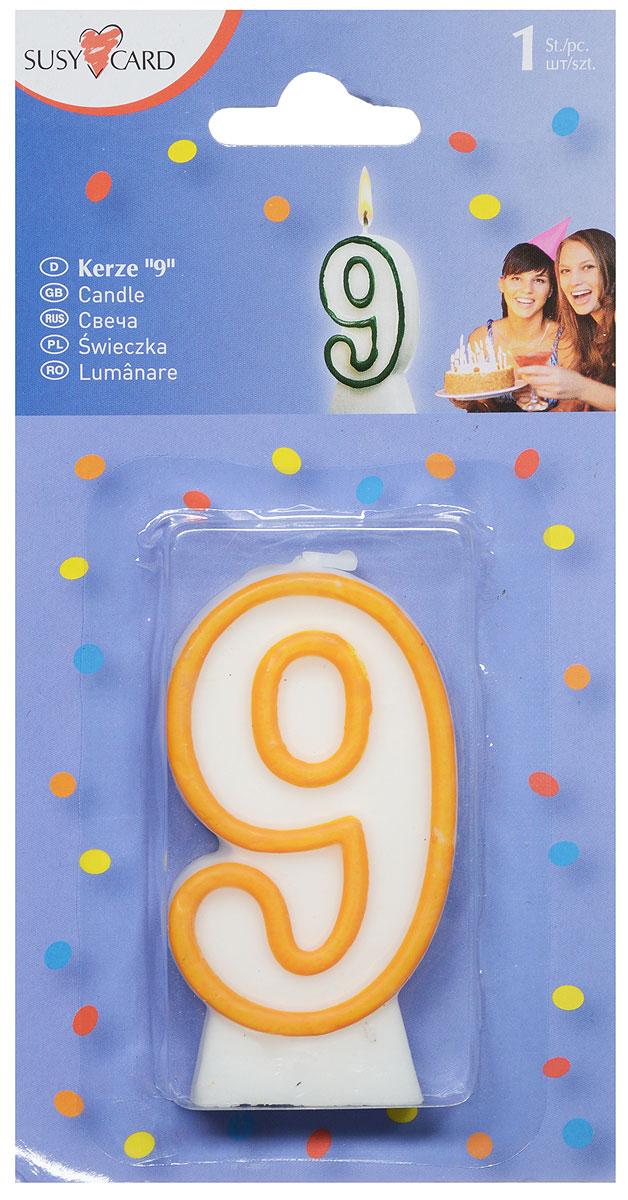 Susy Card Свеча-цифра для торта 9 лет цвет желтый свеча для торта paterra цифра 4