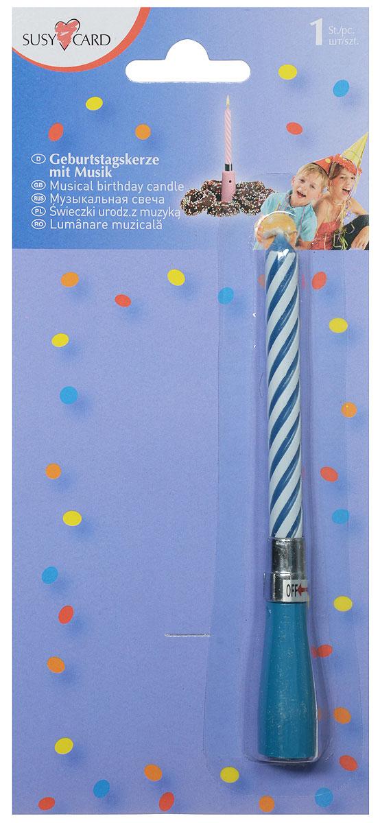 Susy Card Свеча для торта музыкальная Happy Birthday цвет голубой mango susy