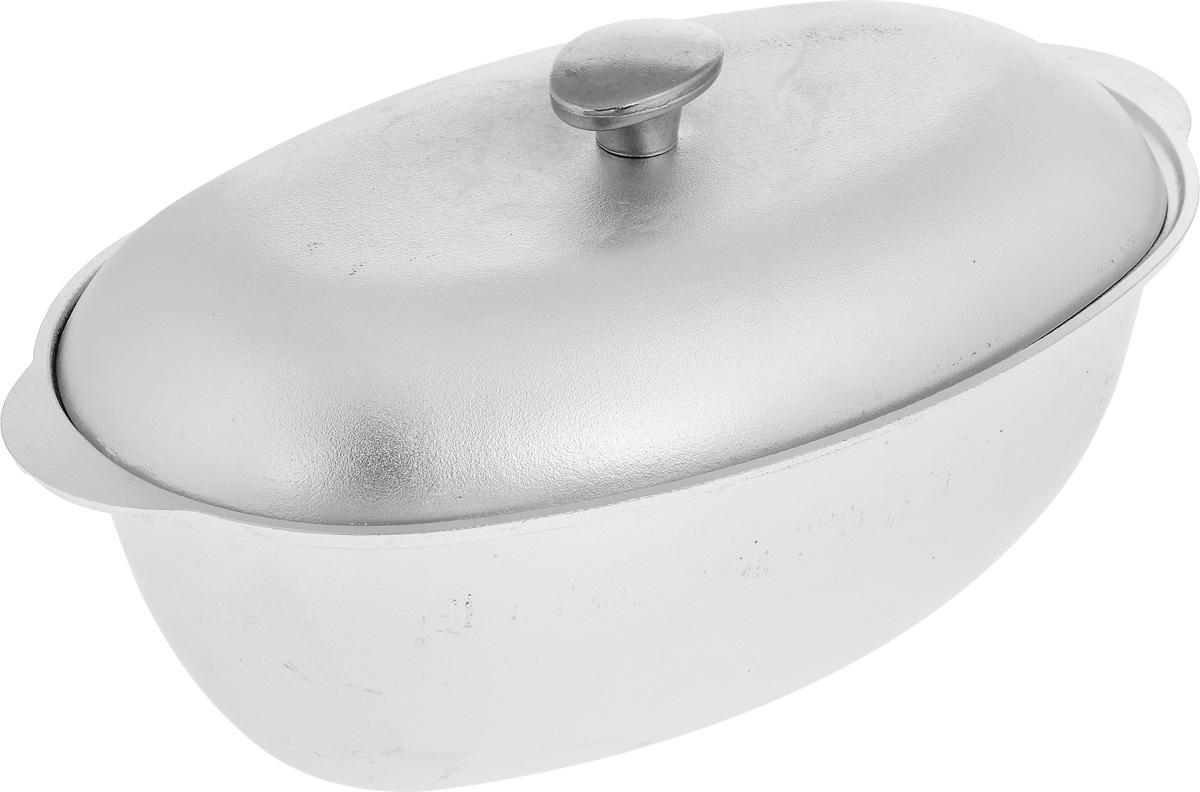 Гусятница Биол с крышкой, цвет: серебристый, 6 лГ0600Гусятница Биол, выполненная из высококачественного литого алюминия, оснащена крышкой. Благодаря особой конструкции корпуса в гусятнице замечательно готовить томленые блюда. Она равномерно прогревается и долго удерживает тепло. Приготовленное блюдо получается особенно вкусным, а в продуктах сохраняется больше полезных веществ. Гусятница не подвержена деформации, легко моется.Подходит для газовых, электрических и стеклокерамических плит. Не подходит для индукционных плит. Можно мыть в посудомоечной машине. Размер гусятницы (без учета крышки): 40,7 х 24,2 х 13,2 см.Объем: 6 л.