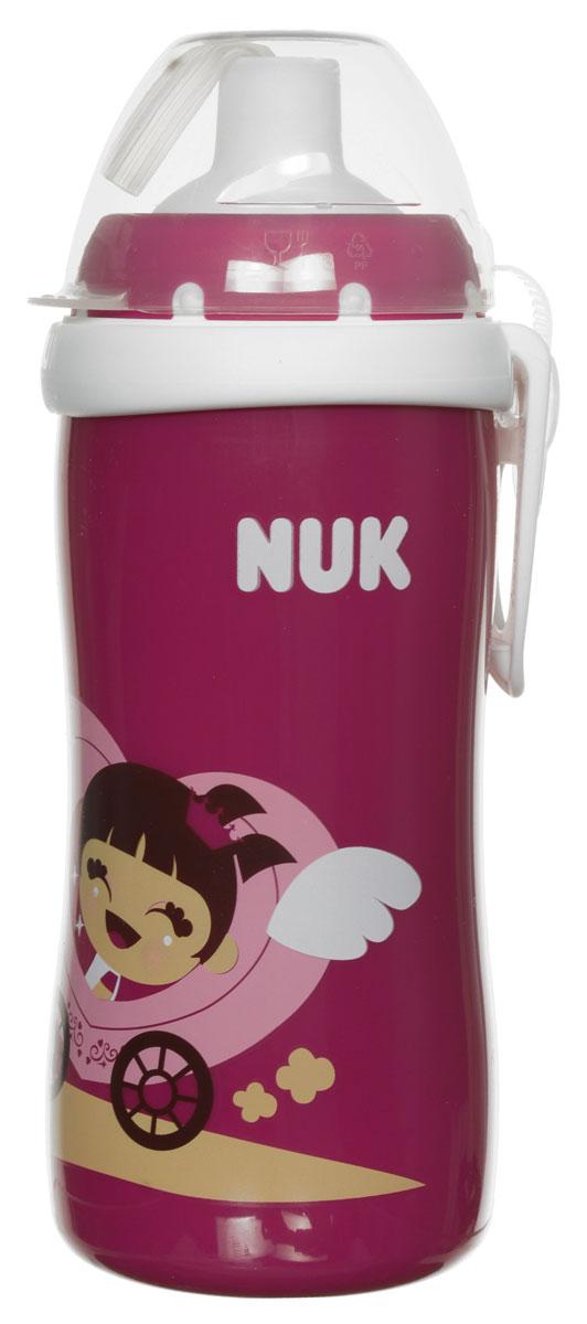 NUK Бутылочка-поильник Flexi Cup с трубочкой от 18 месяцев цвет бордовый 300 мл nuk поильник с 6 месяцев