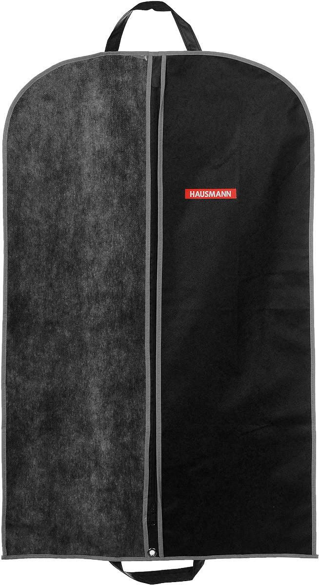 Чехол для одежды Hausmann, подвесной, с прозрачной вставкой, цвет: черный, 60 х 100 см чехол для одежды eva с прозрачной вставкой цвет черный белый 60 х 150 см