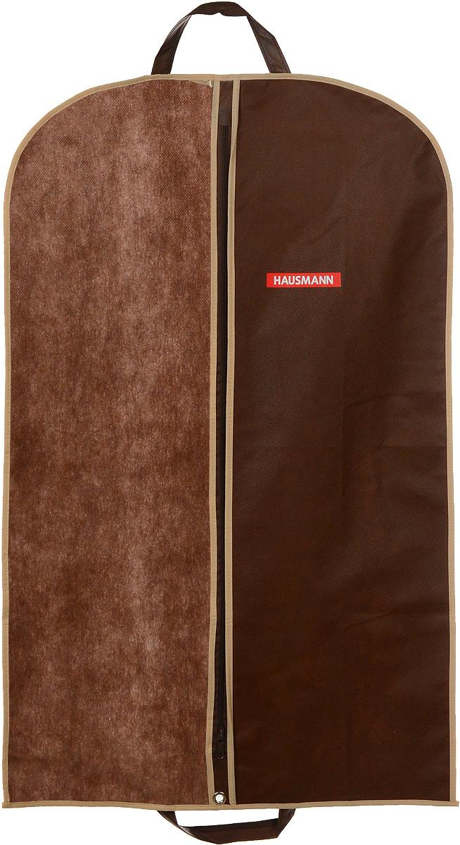 Чехол для одежды Hausmann, подвесной, с прозрачной вставкой, цвет: коричневый, 60 х 100 смHM-701002CBПодвесной чехол для одежды Hausmann на застежке-молнии выполнен из высококачественного нетканого материала. Чехол снабжен прозрачной вставкой из ПВХ, что позволяет легко просматривать содержимое. Изделие подходит для длительного хранения вещей.Чехол обеспечит вашей одежде надежную защиту от влажности, повреждений и грязи при транспортировке, от запыления при хранении и проникновения моли. Чехол обладает водоотталкивающими свойствами, а также позволяет воздуху свободно поступать внутрь вещей, обеспечивая их кондиционирование. Это особенно важно при хранении кожаных и меховых изделий.Чехол для одежды Hausmann создаст уютную атмосферу в гардеробе. Лаконичный дизайн придется по вкусу ценительницам эстетичного хранения и сделают вашу гардеробную изысканной и невероятно стильной.Размер чехла (в собранном виде): 60 х 100 см.