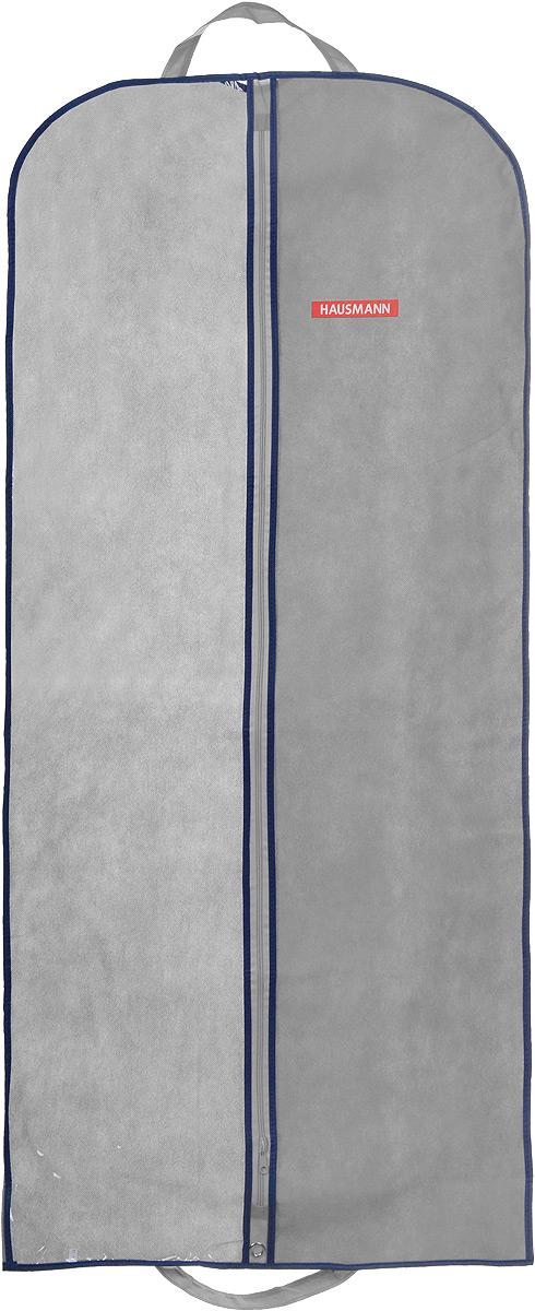 """Подвесной чехол для одежды """"Hausmann"""" на застежке-молнии выполнен из высококачественного нетканого материала. Чехол снабжен прозрачной вставкой из ПВХ, что позволяет легко просматривать содержимое. Изделие подходит для длительного хранения вещей.Чехол обеспечит вашей одежде надежную защиту от влажности, повреждений и грязи при транспортировке, от запыления при хранении и проникновения моли. Чехол обладает водоотталкивающими свойствами, а также позволяет воздуху свободно поступать внутрь вещей, обеспечивая их кондиционирование. Это особенно важно при хранении кожаных и меховых изделий.Чехол для одежды """"Hausmann"""" создаст уютную атмосферу в гардеробе. Лаконичный дизайн придется по вкусу ценительницам эстетичного хранения и сделают вашу гардеробную изысканной и невероятно стильной.Размер чехла (в собранном виде): 60 х 140 см."""