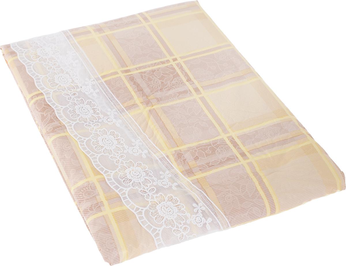 """Овальная скатерть White Fox """"Крем-брюле"""", выполненная из ПВХ с основой из флиса, предназначена для защиты стола от царапин, пятен и крошек.  Ажурная рюшка по краю придает ей благородный вид. Скатерть оформлена изображением узоров и цветов, а рифлёная поверхность формирует приятные тактильные ощущения, при этом частички пищи удаляются с легкостью и поверхность остается всегда чистой. Скатерть с ажурной оборкой придаст уют вашему интерьеру и обеспечит сохранность вашей мебели. Скатерть термостойкая, выдерживает температуру до +70 °C. Скатерть """"White Fox"""" проста в уходе - её можно протирать любыми моющими средствами при необходимости. Скатерть упакована в виниловый пакет с внутренним цветным вкладышем и подвесом в виде крючка."""