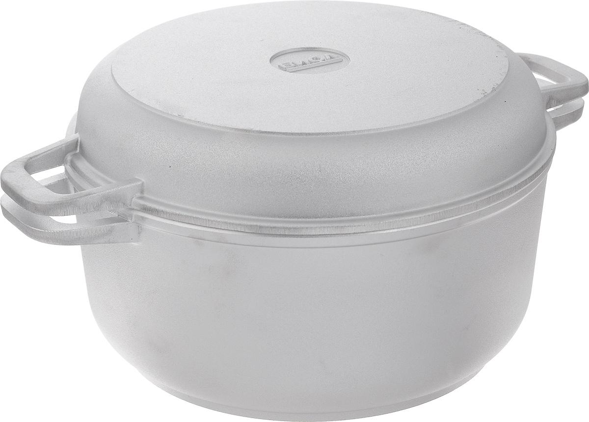 """Кастрюля """"Биол"""" изготовлена из литого алюминия с утолщенным дном. Изделие оснащено плотно прилегающей крышкой, которая также является сковородкой.Кастрюля снабжена двумя эргономичными ручками для комфортного хвата. Кастрюлю и крышку можно использовать как вместе, так и отдельно. Нельзя оставлять приготовленную пищу в посуде для хранения. Кастрюлю можно использовать на газовых, электрических и стеклокерамических плитах, но кроме индукционных. Рекомендовано мыть вручную. Диаметр кастрюли по верхнему краю: 24 см.Ширина кастрюли (с учетом ручек): 33 см.Высота стенки кастрюли: 11,3 см.Толщина стенки: 4 мм. Толщина дна: 7 мм. Диаметр крышки по верхнему краю: 23 см.Высота крышки: 4,3 см.Ширина крышки с учетом ручек: 33 см."""