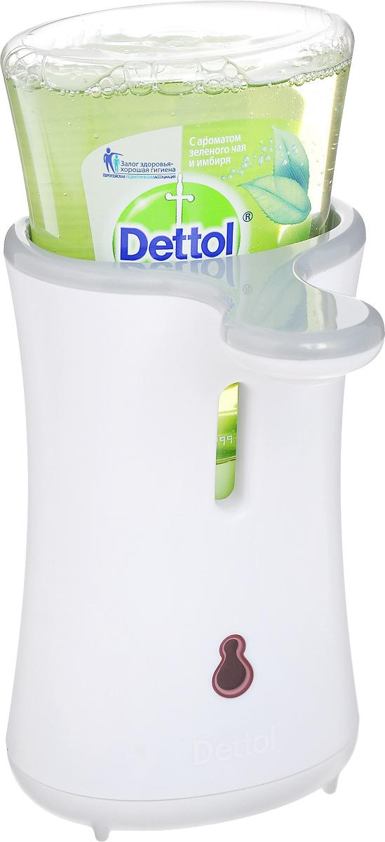 Диспенсер для антибактериального жидкого мыла Dettol, с запасным блоком, с ароматом зеленого чая и имбиря, 250 мл8123586Диспенсер для антибактериального жидкого мыла Dettol с сенсорной системой No Touch помогает превратить мытье рук в быструю и легкую процедуру. Диспенсер удобен в использовании, мыло дозируется автоматически, необходимо просто намочить руки и поднести их к сенсору диспенсера. Антибактериальное жидкое мыло для рук с ароматом зеленого чая и имбиря содержит увлажняющие компоненты, которые заботятся о ваших руках, и одновременно убивают 99,9% бактерий. В комплект входят: диспенсер, сменный блок с антибактериальным жидким мылом для рук, 3 батарейки.Объем мыла: 250 мл.Товар сертифицирован.