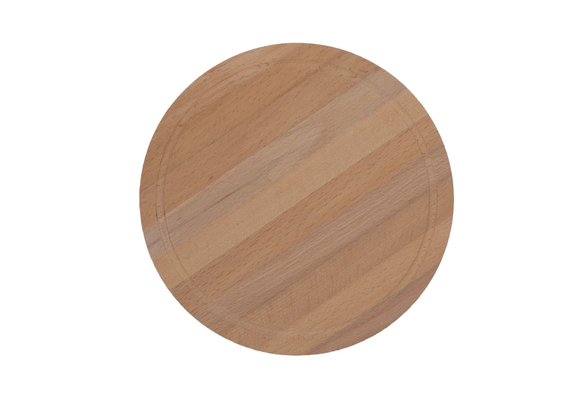 Разделочная доска круглой формы может использоваться как для нарезки продуктов, так и для сервировки стола. Так же можно использовать в качестве подставки под горячее.