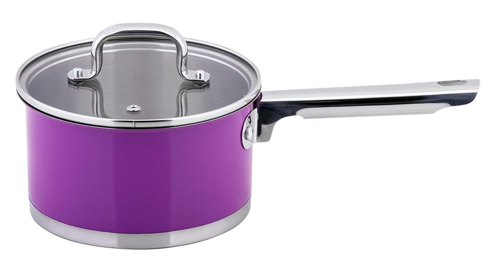 Ковш Esprado Colorido с крышкой, цвет: фиолетовый, серебристый, 1,6 лSOML16PE109Ковш Esprado Colorido, изготовленный из высококачественной нержавеющей стали с внешним цветным керамическим покрытием, имеет трехслойное теплоаккумулирующее дно. Внешнее покрытие не только эстетично, но и функционально: входящие в его состав частицы песка обеспечивают равномерное распределение жара и ускоряют процесс приготовления блюда. Внутри - зеркальная полировка с отметками литража для точного соблюдения рецепта. Особая конструкция дна способствует высокой теплопроводности и равномерному распределению тепла. Материал удерживает тепло по всей поверхности изделия, благодаря чему пища равномерно и быстро нагревается. Ковш оснащен удобной стальной ручкой. Крышка, выполненная из термостойкого стекла, позволит вам следить за процессом приготовления пищи. Крышка оснащена металлическим ободом и отверстием для выпуска пара. Ковш идеален для приготовления здоровой пищи с минимальным количеством жира, что обеспечивает снижение потери полезных витаминов, минеральных веществ и сохраняет аромат приготовляемых блюд. Ковш можно использовать на любых видах плит, включая индукционные. Нельзя мыть в посудомоечной машине.Диаметр ковша (по верхнему краю): 16 см.Высота стенок ковша: 8,5 см.
