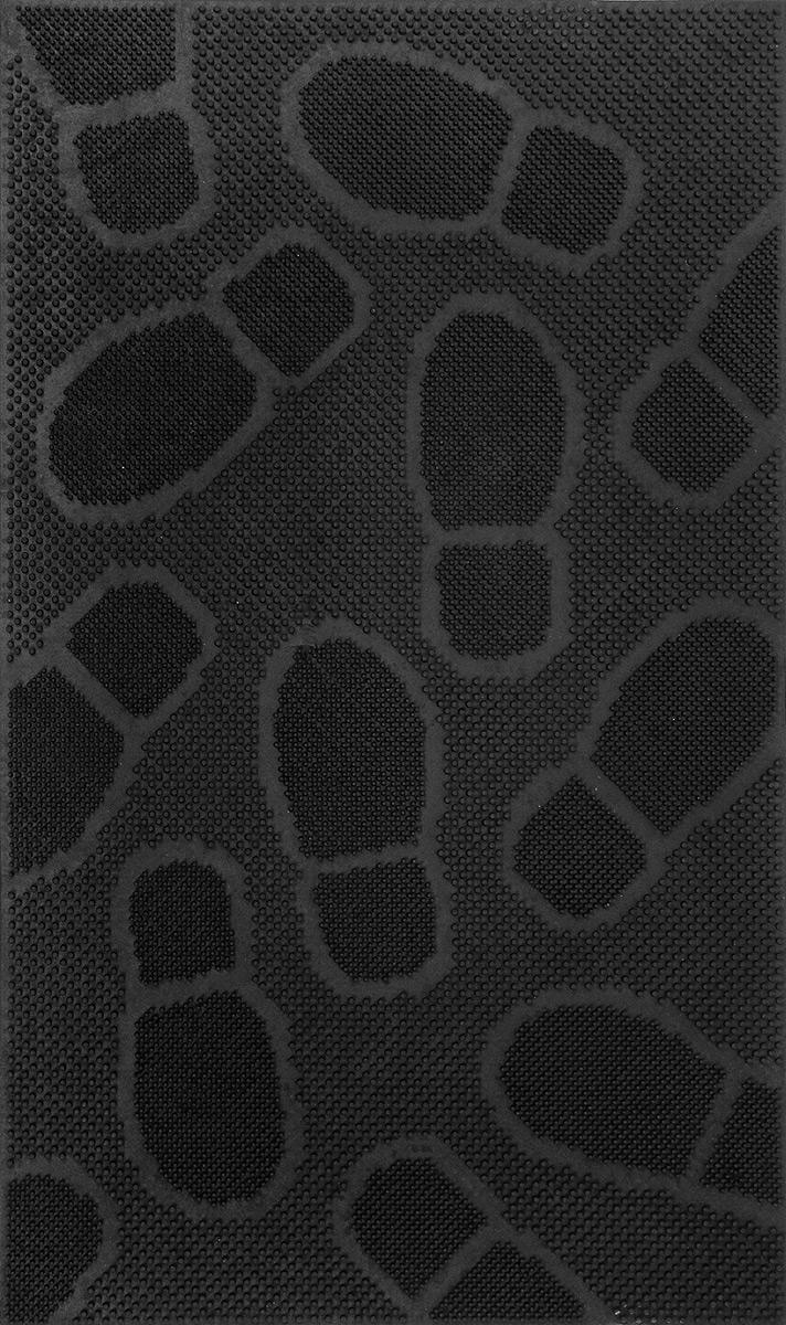 Коврик придверный SunStep Следы, резиновый, цвет: черный, 75 х 45 см31-042Придверный коврик SunStep Следы, выполненный из резины, прост в обслуживании, прочный и устойчивый к различным погодным условиям. Его основа предотвращает скольжение по гладкой поверхности и обеспечивает надежную фиксацию. Такой коврик надежно защитит помещение от уличной пыли и грязи.