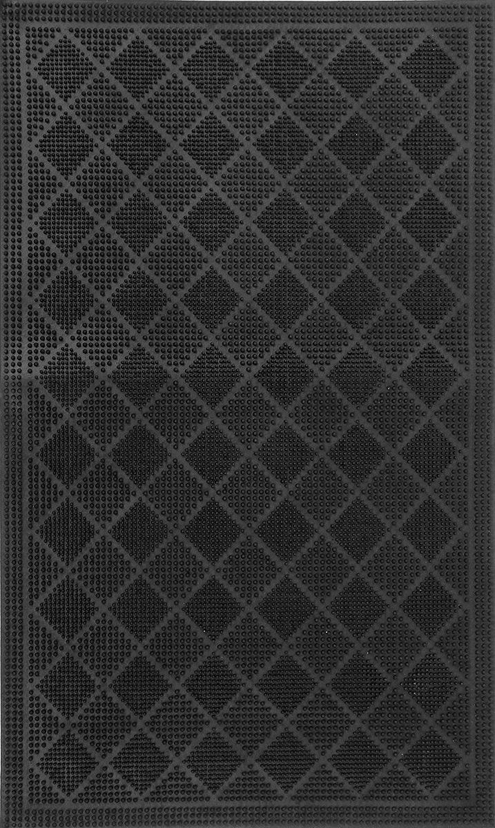 Коврик придверный SunStep Ромбики, резиновый, цвет: черный, 75 х 45 см31-044Придверный коврик SunStep Ромбики, выполненный из резины, прост в обслуживании, прочный и устойчивый к различным погодным условиям. Его основа предотвращает скольжение по гладкой поверхности и обеспечивает надежную фиксацию. Такой коврик надежно защитит помещение от уличной пыли и грязи.